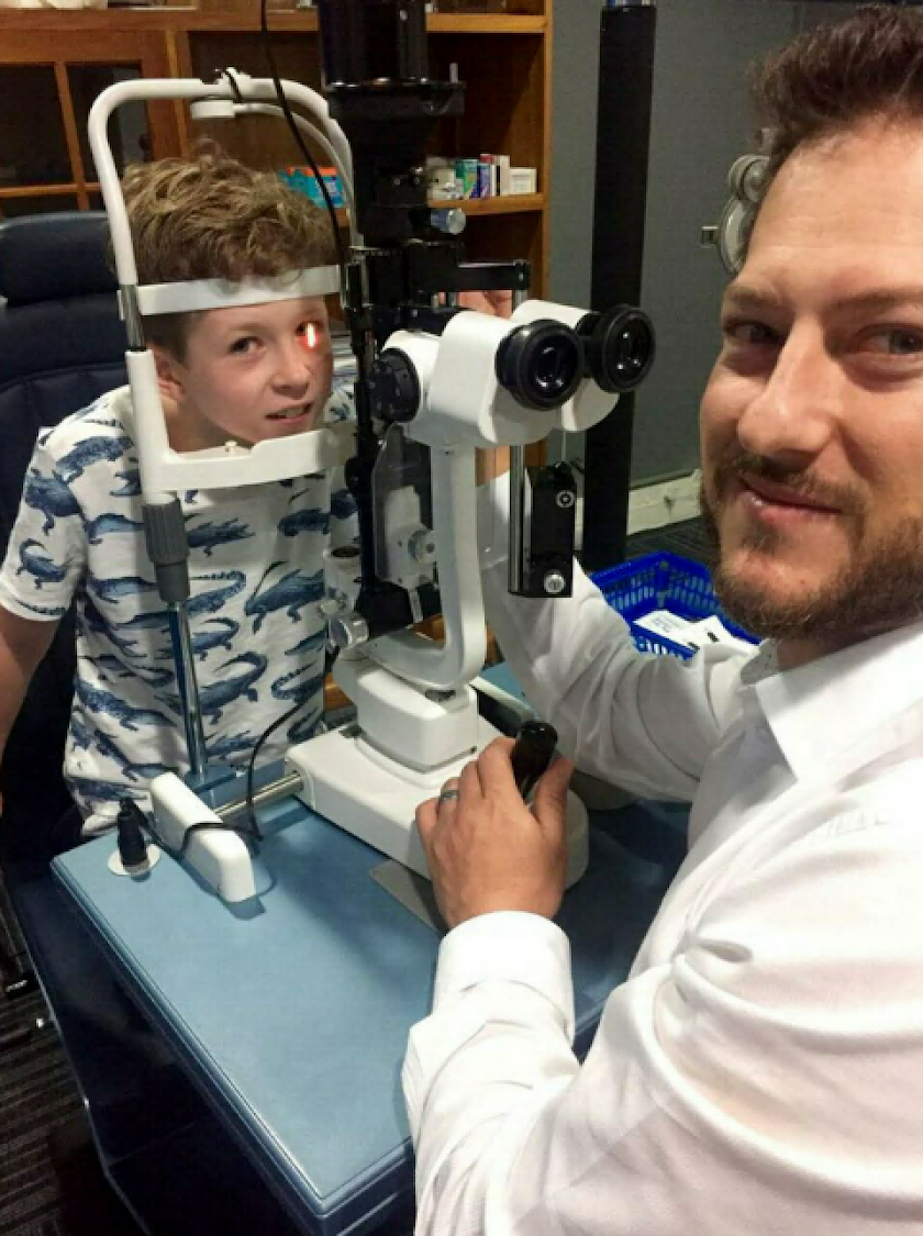 Dr Juan Deseta and his son Oscar in his consultation room