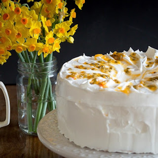 Angel Food Layer Cake with Lemon and Lime Curd, Saffron Italian Meringue Frosting and Passionfruit