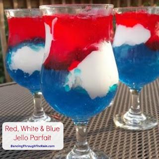 Red, White & Blue Jello Parfait.