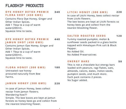 Oye Honey menu 5