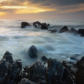 Seascape at sunrise by Macbrian Mun - Landscapes Waterscapes ( colorful, ocean, rock, beauty, travel, beach, landscape, coast, sun, sky, nature, weather, sunshine, light, clouds, water, orange, peaceful, wallpaper, sea, horizon, malaysia, scenic, seascape, daybreak, morning, sunlight, dusk, vacation, red, dawn, johore, color, wave, scene, cloud, summer, view, sunrise, scenery, natural )