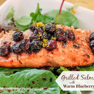 Grilled Salmon Salad with Warm Blueberry Vinaigrette
