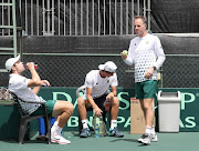 Team SA captain, Marcos Ondruska (R) with South African Davis Cup players Ruan Roelofse and Lloyd Harris during the SA and Israel practice session prior to at Irene Country Club on January 31, 2018 in Pretoria.