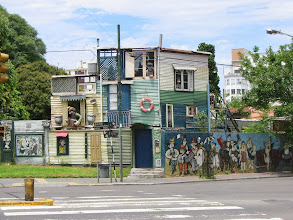 Photo: 3-D mural at the entrance to barrio La Boca