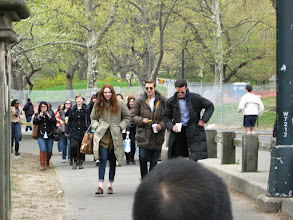 Photo: Doctor Who's Karen Gillan (Amy Pond), Arthur Darvill (Rory Williams) and Matt Smith (The Doctor) walk to shooting location in NYC's Central Park.