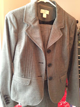 Photo: $45. Ann Taylor LOFT size 4 gray women's suit w/waist detail. (Pants have slightly visible pulled thread, see next pics.)