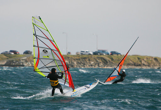 British Columbia is known for water sports of all types, such as sailboarding (or windsurfing) near Dallas Road Beach in Victoria.