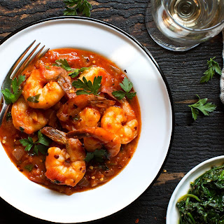 Spicy Tomato-coconut Shrimp And Sautéed Spinach
