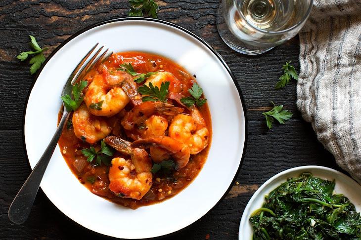 Spicy Tomato-coconut Shrimp And Sautéed Spinach Recipe | Yummly