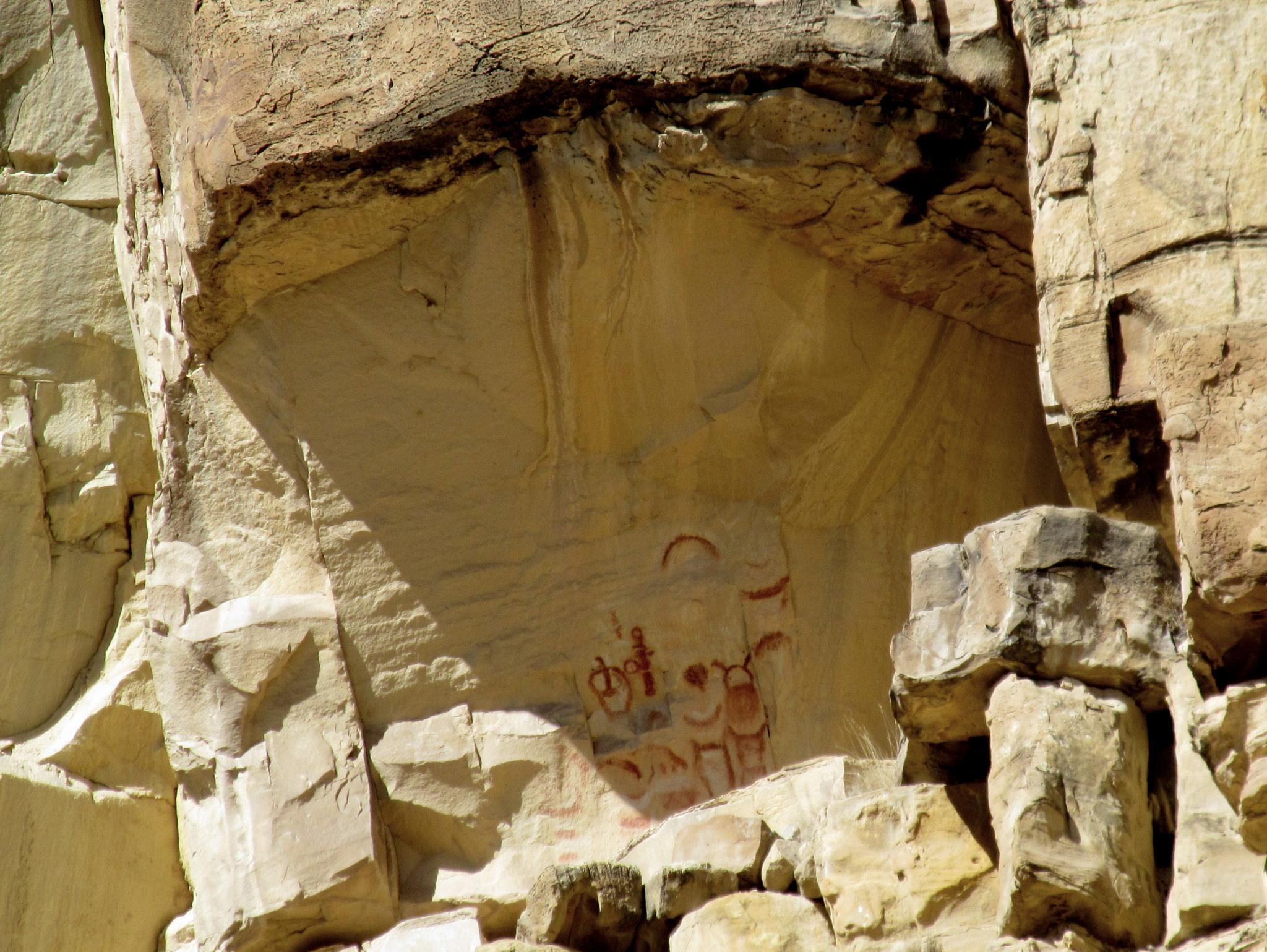 Photo: Pictographs high above Muddy Creek