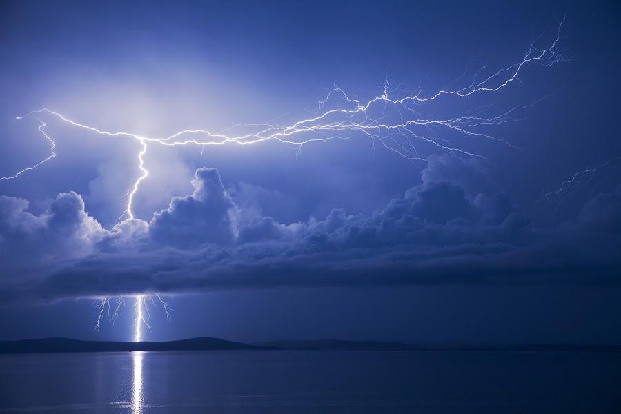 Lightning storm by Ivan Stulic - Landscapes Weather ( clouds, lightning, cumulonimbus, sea, storm, thuderstorm )