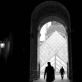 Le Louvre Beckoning by Ibrahim Johan - Travel Locations Landmarks ( paris, le louvre, b&w )