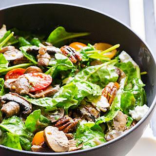 Sauteed Mushroom Spinach Salad with Mushroom Vinaigrette
