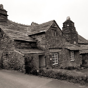 old post office by Paul Robin Andrews - Black & White Buildings & Architecture ( office, building, old, post, stone, tintagel, cornwall )