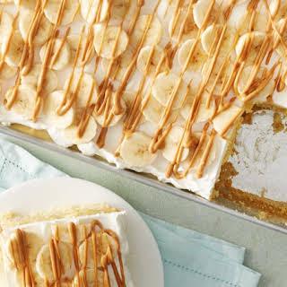 Banana, Peanut Butter and Marshmallow Poke Cake.