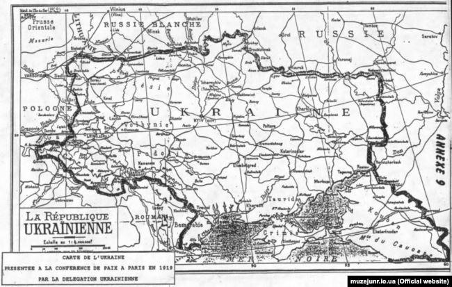 Карта Украины, представленная участникам Парижской мирной конференции делегацией УНР (1919)