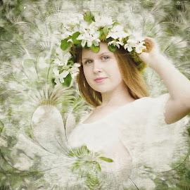 spring by Kathleen Devai - Digital Art People ( girl, season, spriing, flowers )