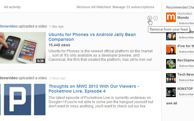 Remove from Feed Button for YouTube