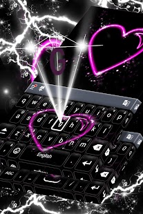 Neon Heart Keyboard Téma - náhled
