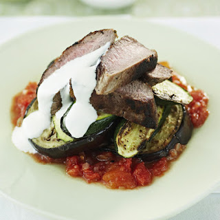 Lamb, Eggplant and Zucchini Stacks.