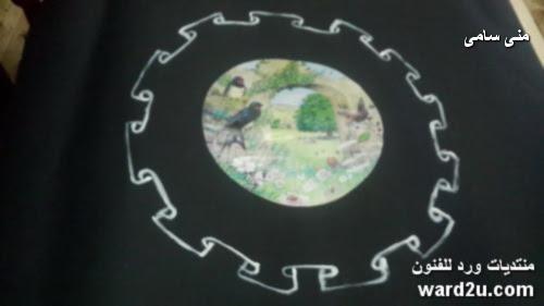 ديكوباج مع رسم مفرش حرير lace painting