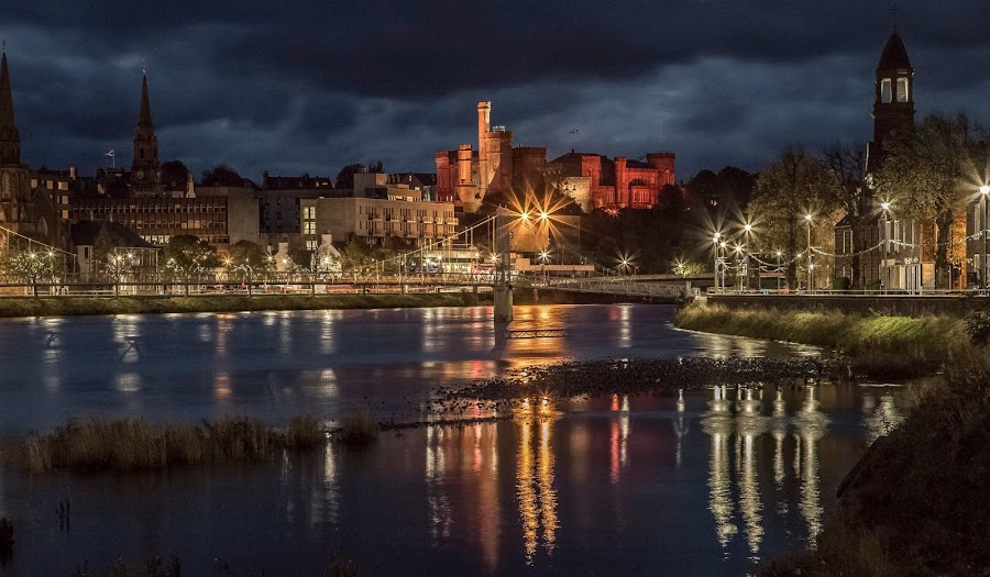 Inverness Riverside just before dawn . by Gordon Bain - City,  Street & Park  Night ( scotland ., river ness, inverness )