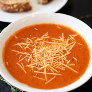 Tomato and White Bean Soup with Grilled Cheese Dippers.