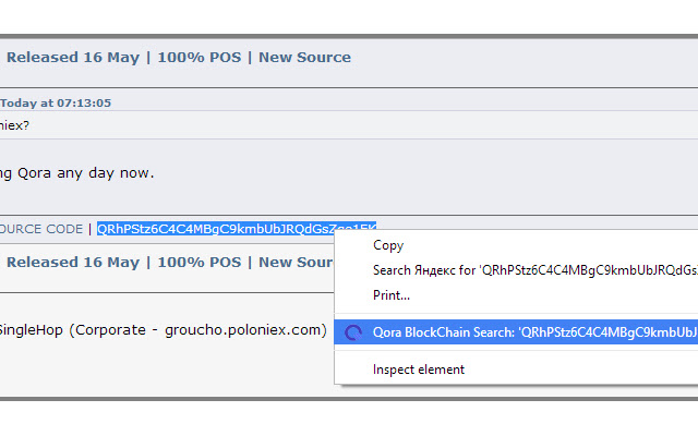 Qora BlockExplorer Search