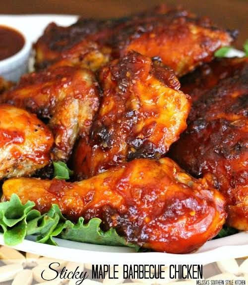 "Sticky Maple Barbecue Chicken ""This Sticky Maple-Barbecue Chicken is prepared in the..."