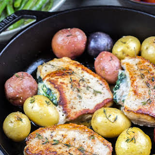 Spinach and Ricotta Stuffed Pork Chops.