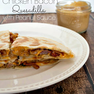 Chicken Bacon Quesadilla with Peanut Sauce