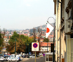Photo: Akiko finds a Japan Embassy in Sarajevo!