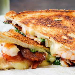Shrimp and Bacon Grilled Cheese Sandwich.