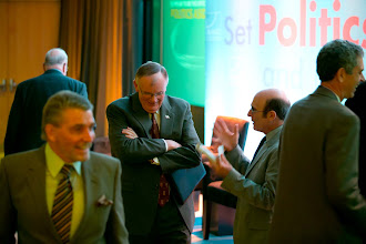 Photo: Robert Lempert chats with a RAND Trustee, Admiral Jim Loy, during the RAND Politics Aside event. The event was in Santa Monica, Calif. from Nov. 15-17, 2012.