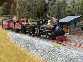 Photo: 130 I think this is my favourite photo of the whole report, sometimes they come out right, sometimes they don't. Large Hunslet Linda, is in 2000's condition in Penrhyn livery, and still awaits the fitting of a front pony truck, heads a Double Fairlie (I think Livingston Thompson, but am not sure) on an up passenger service towards Tan y Bwlch .