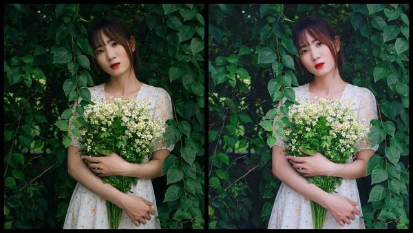 Montagem de duas fotos usando a mesma mulher segurando um buquê de flores, com um vestido florido e em um fundo com várias plantas. Foto 1 sem edições e foto 2 usando o Filtro SI-5