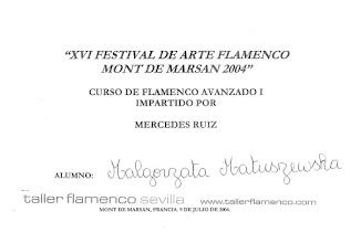 Photo: 2004r. kurs tańca flamenco (solea por bulerias); poziom zaawansowany; prof. Mercedes Ruiz XVI Festival de Arte Flamenco Mont de Marsan