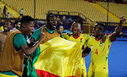 Africa Cup of Nations 2019 - Round of 16 - Morocco v Benin - Al Salam Stadium, Cairo, Egypt - July 5, 2019  Benin players celebrate after the match.