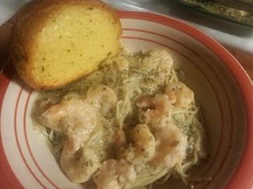 Sherry's awesomely quick baked shrimp scampi