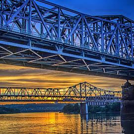 Sunset on the Ohio by Richard Michael Lingo - Buildings & Architecture Bridges & Suspended Structures ( orange, sunset, bridges, ohio river, landscape,  )