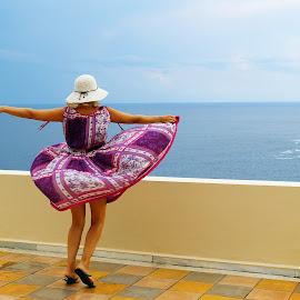 Nature lover by Edina Zsarnai - People Street & Candids ( love, sky, dancing, nature, fress, smell, people, sea, edina zsarnai, colors, moment, beautiful, blue, candid, photography, women,  )
