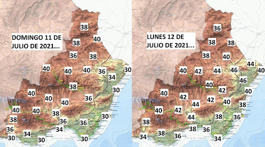 Fin de semana abrasador en Almería y para el lunes, 'fuego'