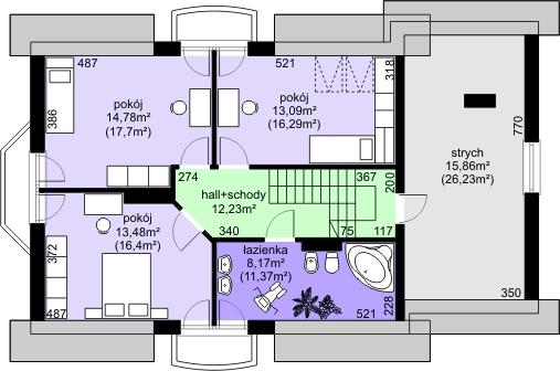 Dom przy Modrzewiowej 3 - Rzut poddasza