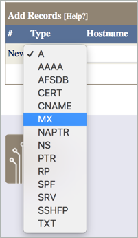 MX is selected on the Type drop-down list.