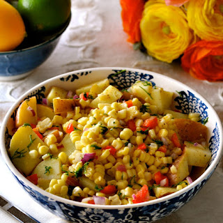 Potato & Corn Summer Salad with Oil-Free Mustard Vinaigrette