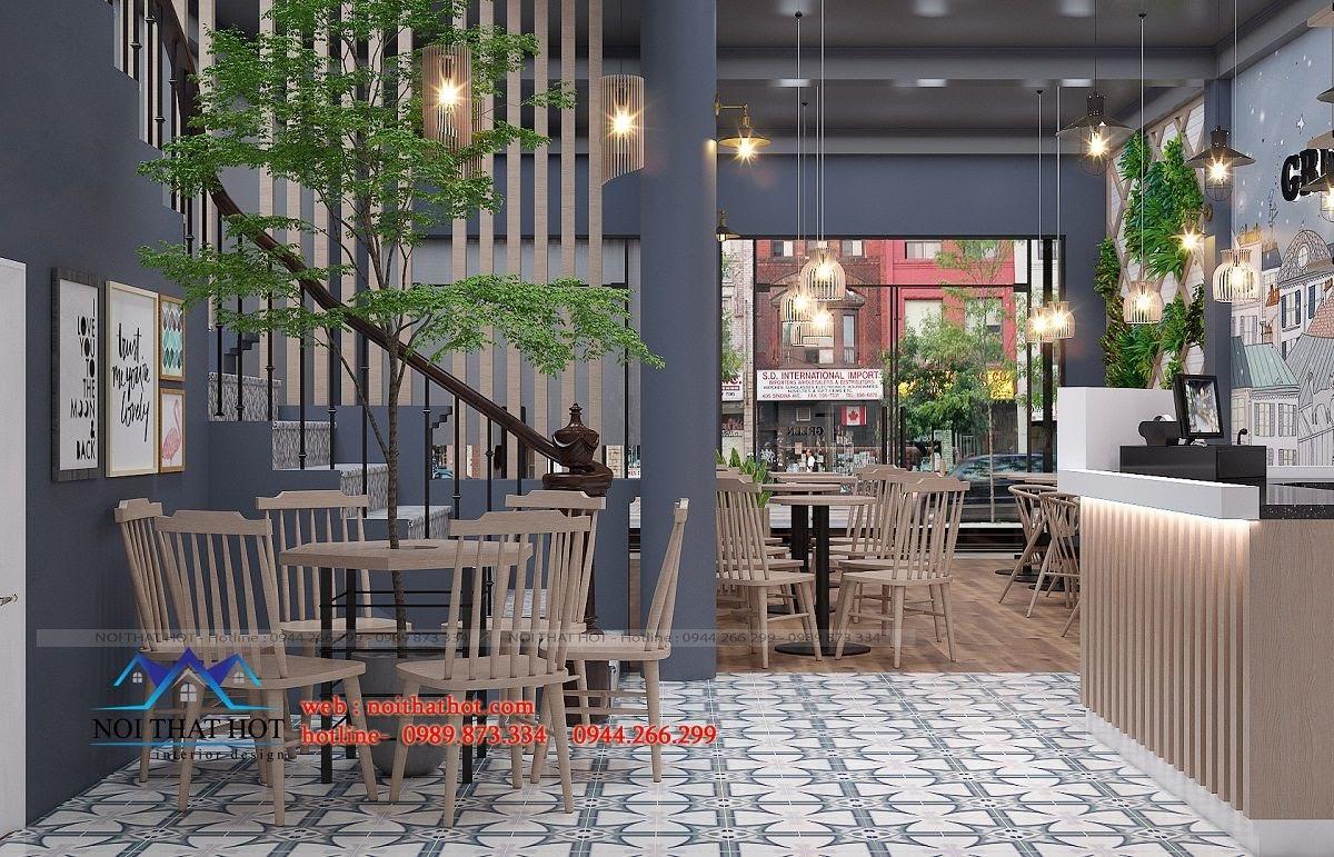 thiết kế quán trà sữa green 5