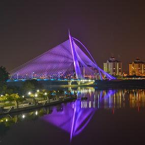 bridge by Rusydi Ali - Buildings & Architecture Bridges & Suspended Structures ( reflection, reflections, people, places, architecture, building, night, lights, , bridge )
