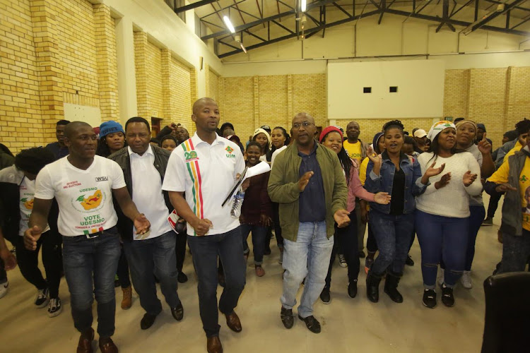 UDM deputy president and MP Nqabayomzi Kwankwa with United Democratic Student Movement during his visit at the Walter Sisulu University's Butterworth campus on Monday evening