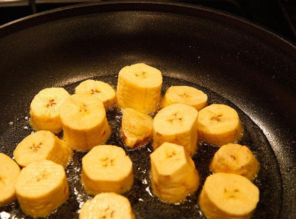 Put in as many plantains to the skillet till it's filled. Flip over plantains...