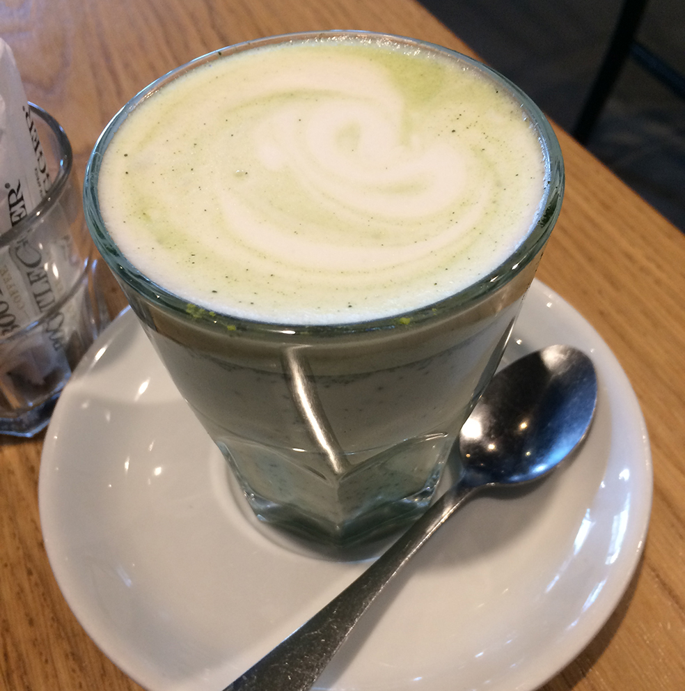 Matcha flat white at Bootleggers